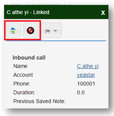 SugarCRM Call Hang up and Transfer from Call Pop Up